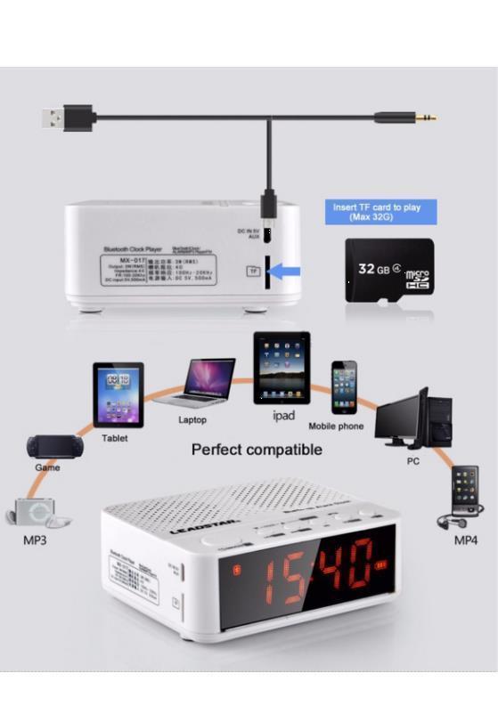 bluetooth stereo radiowecker mit freisprechfunktion bc 01. Black Bedroom Furniture Sets. Home Design Ideas