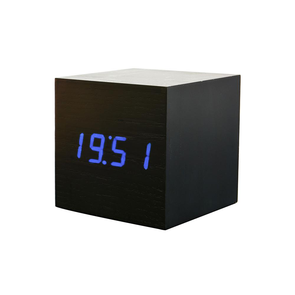 Cube Beleuchtung | Einzigartiger Wecker Wood Cube 2 Schwarz Mit Blauer Led Beleuchtung