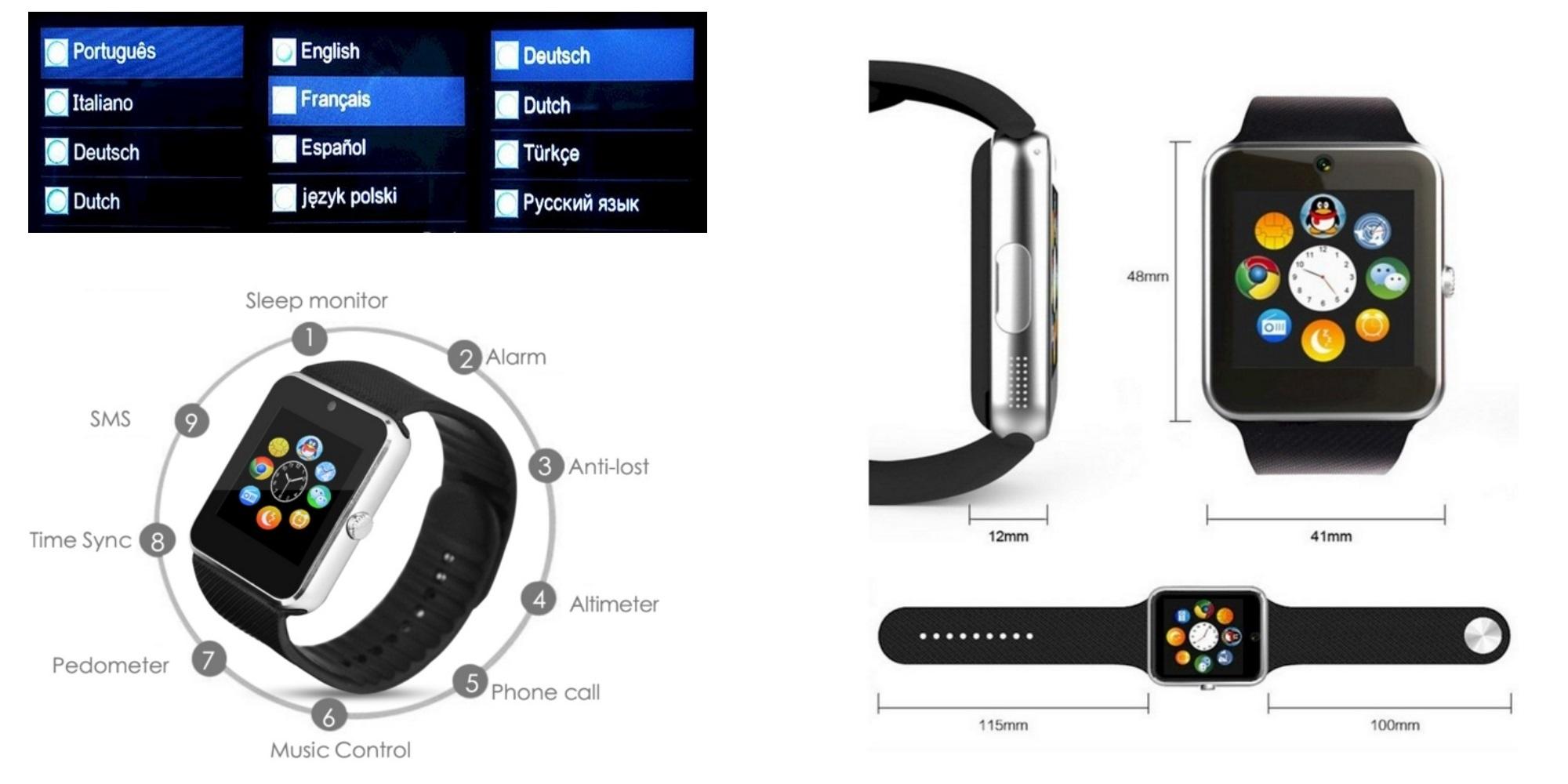 gt08 smartwatch android black bluetooth mit deutscher bedienungsanleitung ebay. Black Bedroom Furniture Sets. Home Design Ideas